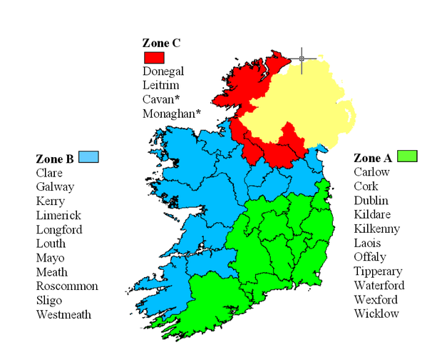 Map showing fertiliser zones for application periods