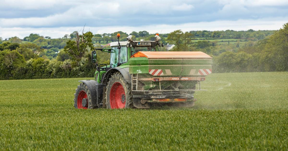 Chemical fertiliser being spread